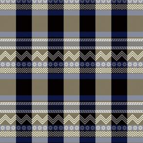 Ornamental zigzag stripe - herringbone pattern - blue, black, cream and white