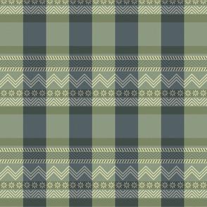 Ornamental zigzag stripe - herringbone pattern - navy, olive, sage and cream