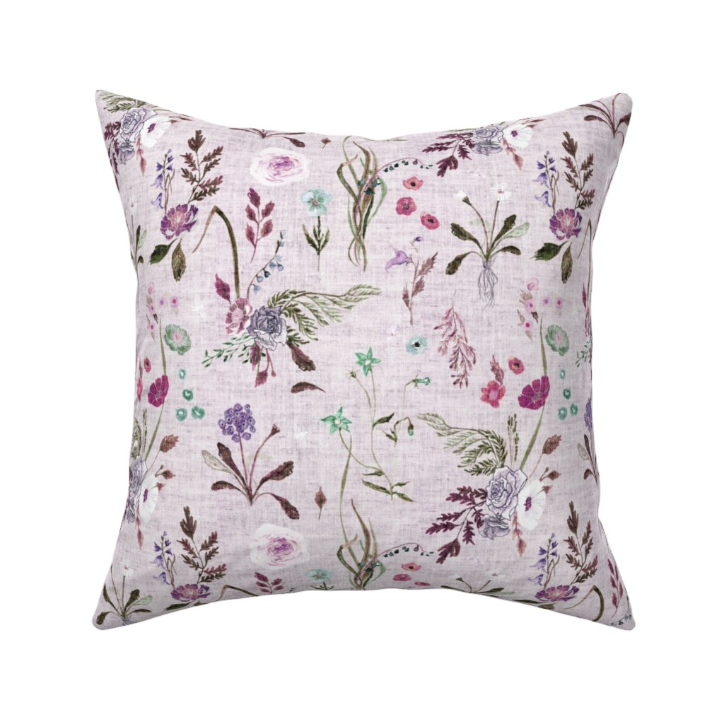 Catalan Throw Pillow featuring Jane (violet) MED by nouveau_bohemian
