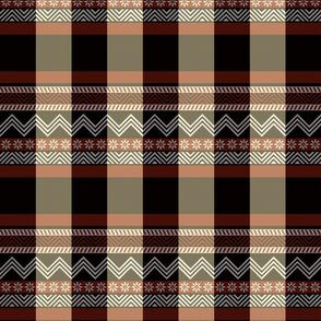Ornamental zigzag stripe - plain weave red, black, cream and white