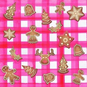 Christmas Gingham Cookie Platter