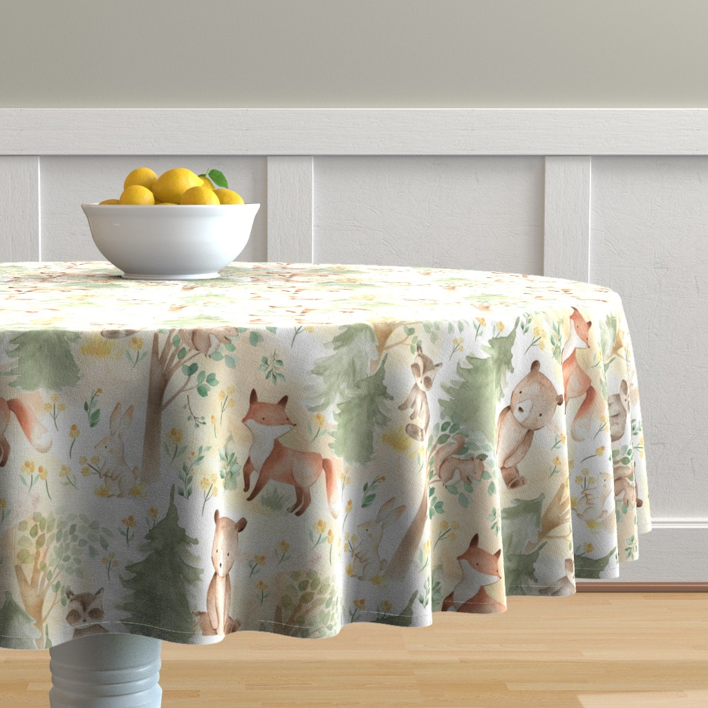 """Malay Round Tablecloth featuring 12"""" Woodland Animals - Baby Animals in Forest light background  by utart"""
