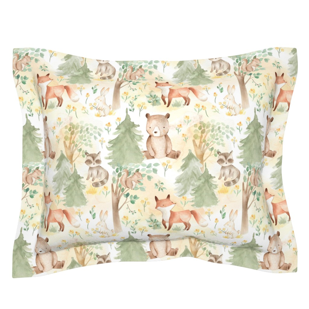 """Sebright Pillow Sham featuring 12"""" Woodland Animals - Baby Animals in Forest light background  by utart"""