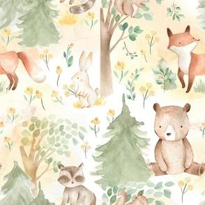 "12"" Woodland Animals - Baby Animals in Forest light background"