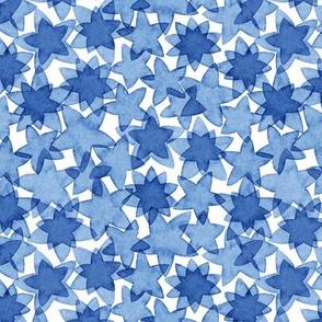 Watercolor stars in blue