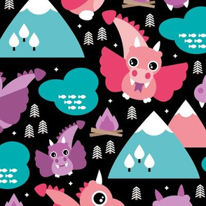 Cute baby dragon fantasy woodland for girls pink purple mountains illustration print