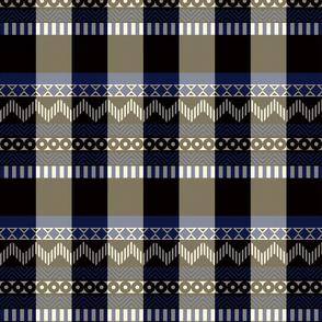 Ornamental zigzag stripe #2 -  stripe - herringbone pattern - blue, black, cream and white