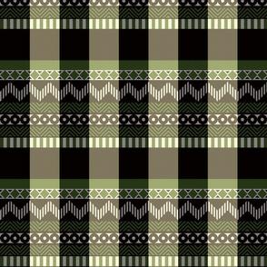 Ornamental zigzag stripe #2 -  stripe - herringbone pattern - olive,black,cream and white