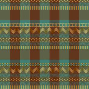 Ornamental zigzag stripe #2 -  stripe - herringbone pattern - cassia, brown, yellow and teal