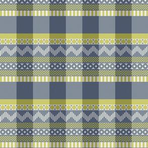Ornamental zigzag stripe #2 -  stripe - herringbone pattern - wasabi, navy and white
