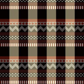 Ornamental zigzag stripe #2 -  stripe - herringbone pattern - red, cream, black and white
