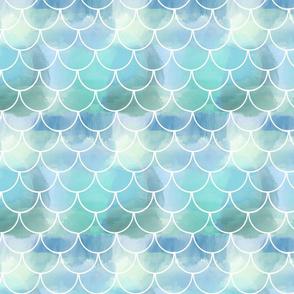 white mermaid scales blues aquas water