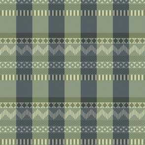 Ornamental zigzag stripe #2 -  stripe - herringbone pattern - navy, olive, sage, cream