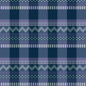 Ornamental zigzag stripe #2 - stripe - herringbone pattern - twilight blues