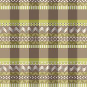 Ornamental zigzag stripe #2 -  stripe - herringbone pattern - wasabi, brown, grey and white