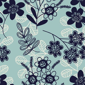 Flowers and fronds on light blue