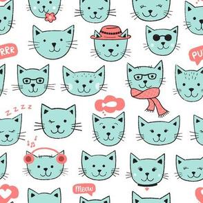 Happy Cats Aqua on white