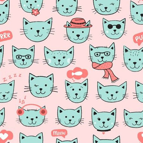 Happy Cats on pink
