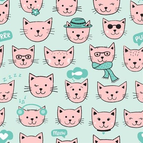 Happy Cats on aqua