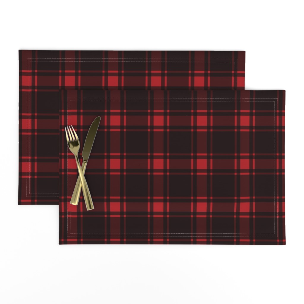 Lamona Cloth Placemats featuring Minimalist Middleton Tartan in Red + Black by yesterdaycollection
