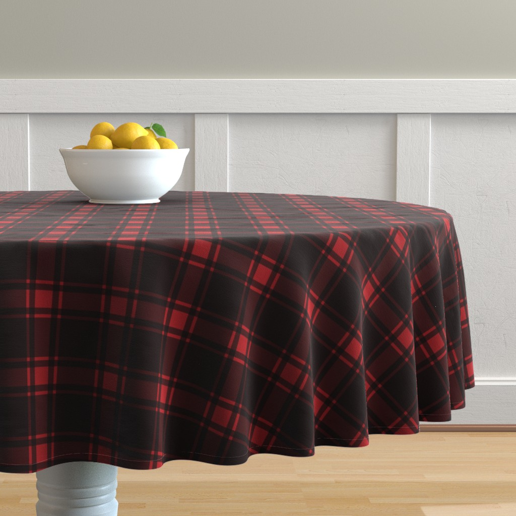 Malay Round Tablecloth featuring Minimalist Middleton Tartan in Red + Black by yesterdaycollection
