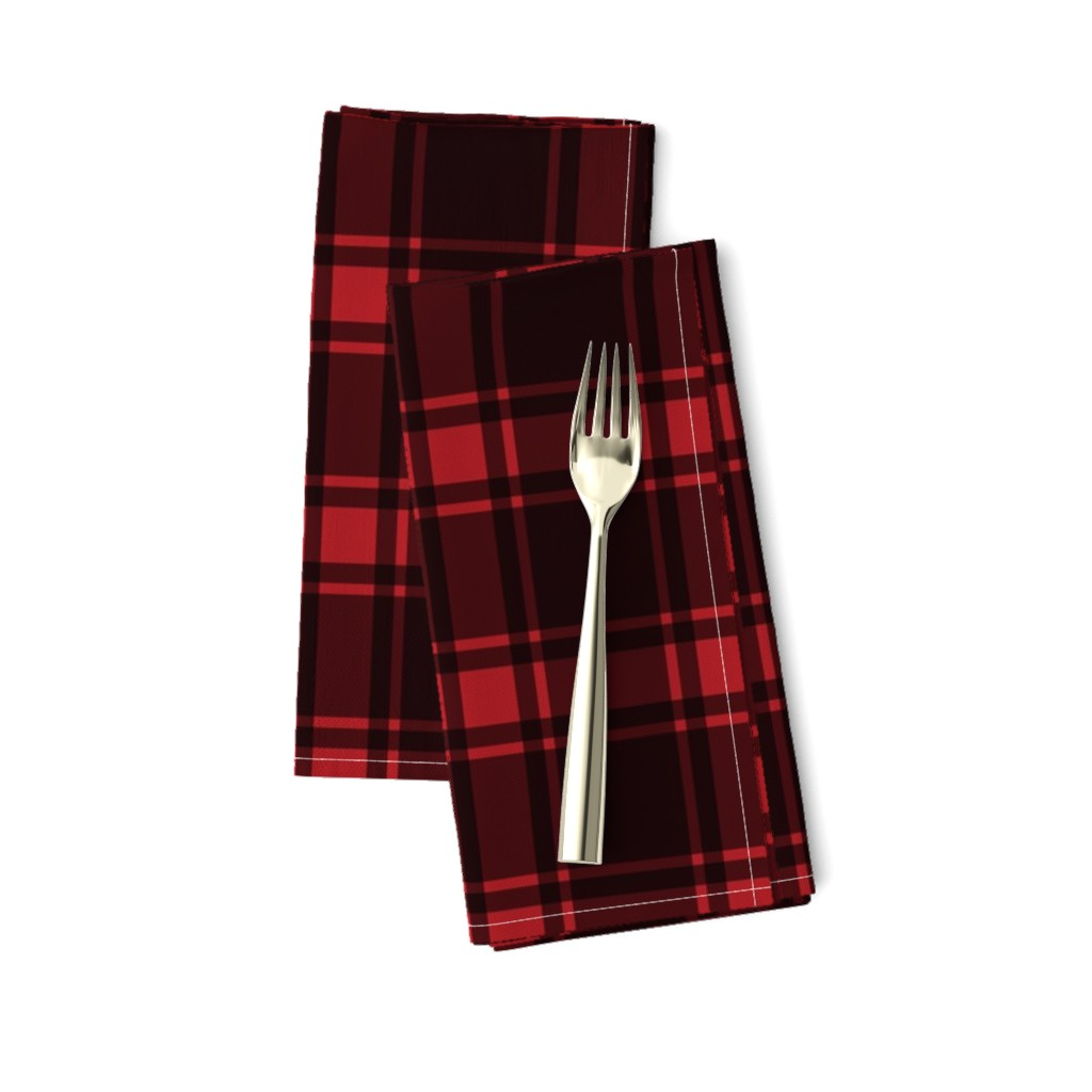 Amarela Dinner Napkins featuring Minimalist Middleton Tartan in Red + Black by yesterdaycollection