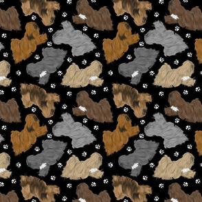 Trotting Lhasa Apso and paw prints - black