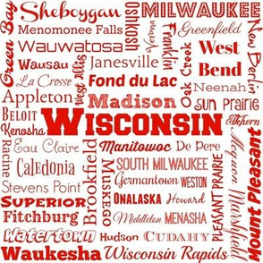 Wisconsin cities, white and red