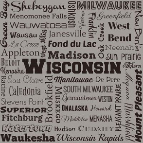 Wisconsin cities, taupe gray