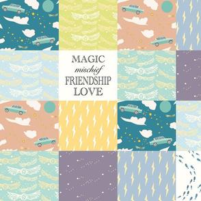 Whole cloth cheater quilt- Magic, Mischief, Friendship, Love