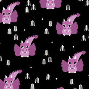 Little baby dragon fantasy fairy tale enchanted forest night purple