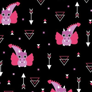 Little baby dragon and geometric arrows and triangles abstract details night pink purple
