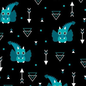 Little baby dragon and geometric arrows and triangles abstract details night blue