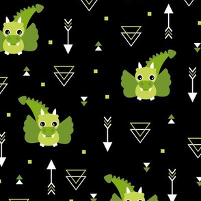 Little baby dragon and geometric arrows and triangles abstract details night green