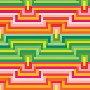 70's Mod Geometric Green Pink