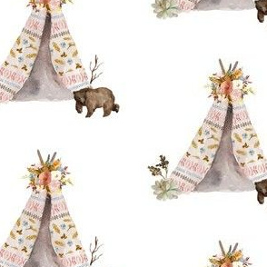 "4"" Autumn Love Teepee and Bear - White"