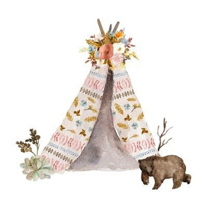 "8"" Autumn Love Teepee and Bear - White"