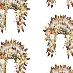 "4"" Autumn Love Floral Headdress - White"
