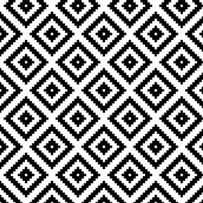 black + white aztec diamonds squares 4in