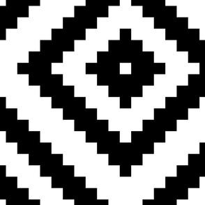 black + white aztec diamonds squares 19in