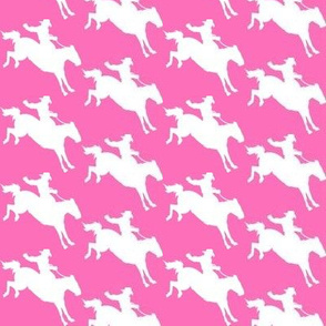 Rodeo Cowboys - white on pink