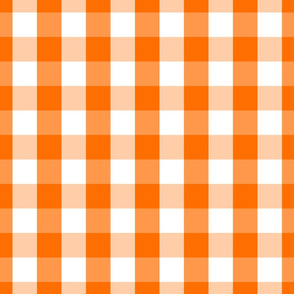 Classic Pumpkin Orange and White Gingham Check Pattern
