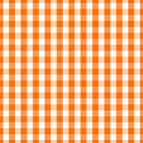 Small Pumpkin Orange and White Gingham Check Pattern