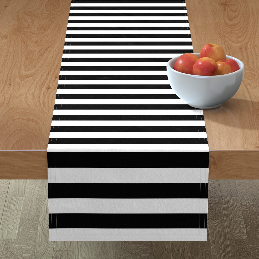 Minorca Table Runner featuring Small Cat Black and White Horizontal Witch Stripes by paper_and_frill