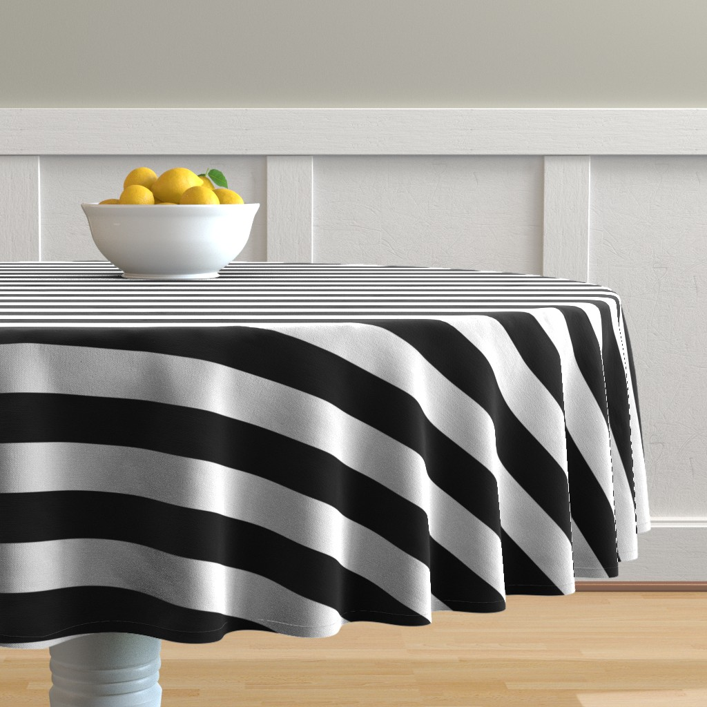 Malay Round Tablecloth featuring Small Cat Black and White Horizontal Witch Stripes by paper_and_frill