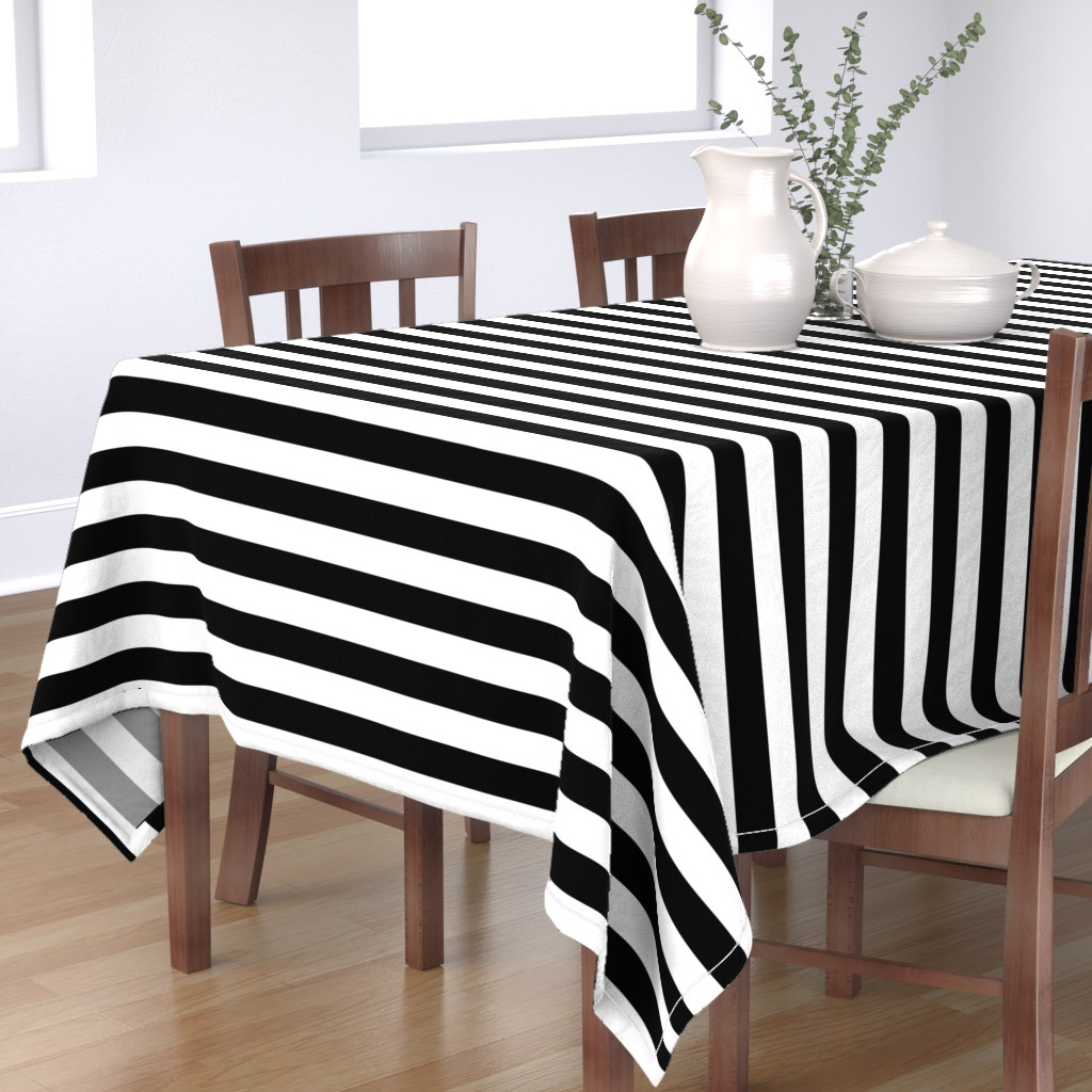 Bantam Rectangular Tablecloth featuring Small Cat Black and White Horizontal Witch Stripes by paper_and_frill