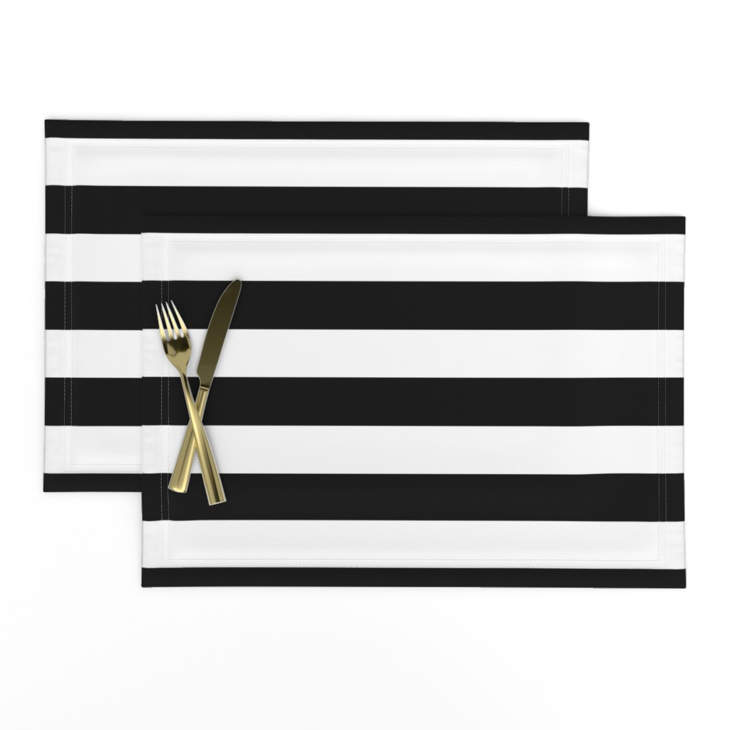 Lamona Cloth Placemats featuring Small Cat Black and White Horizontal Witch Stripes by paper_and_frill