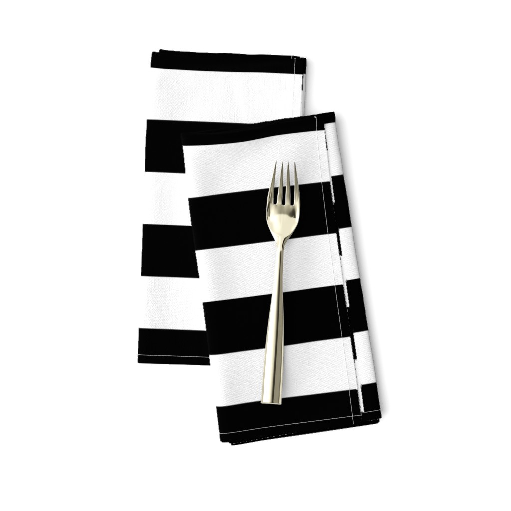 Amarela Dinner Napkins featuring Small Cat Black and White Horizontal Witch Stripes by paper_and_frill
