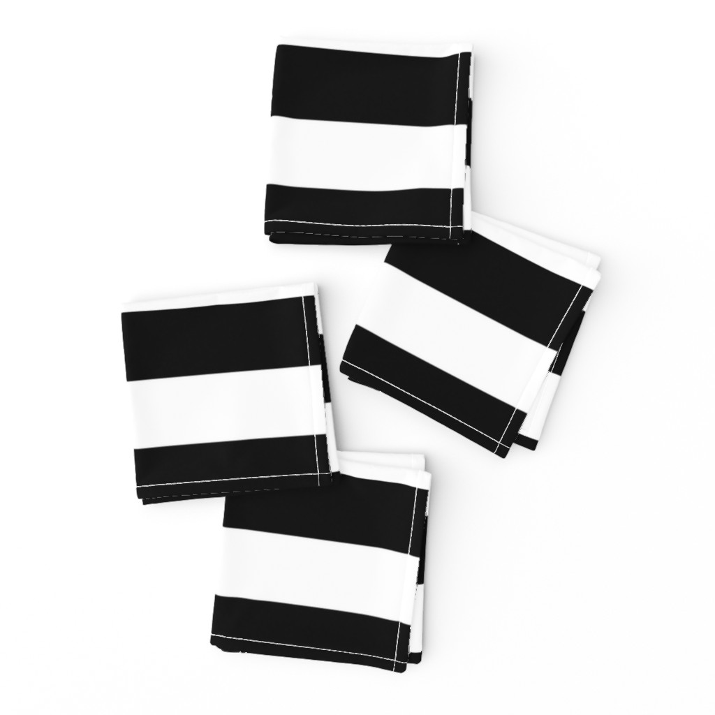 Frizzle Cocktail Napkins featuring Small Cat Black and White Horizontal Witch Stripes by paper_and_frill