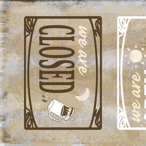 Open for Business Rustic Retro Bar Towel